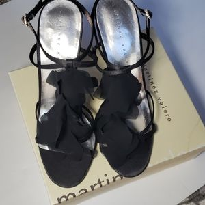 MARTINEZ VALERO Black Satin CORRINE Heels sz 9.5